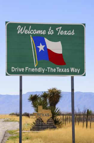 """Welcome to Texas"" sign"