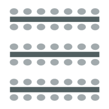 Room setup icon of a series of rectangular tables with chairs on either side of each table