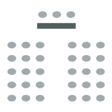 room setup icon of two sections of seating separated by a central aisle and a table up front