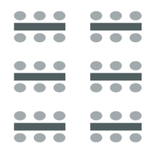 room setup icon of two columns of rectangular tables with chairs on one side of each table, resembling a classroom setup