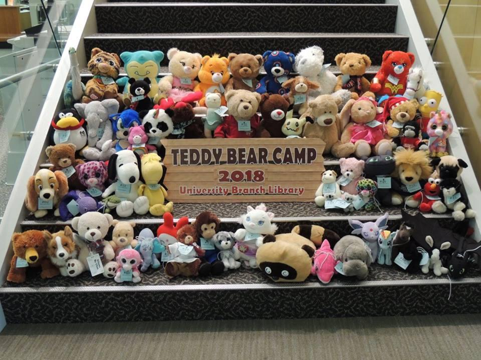 Various stuffed animals pictured for Teddy Bear Camp 2018 at University Branch Library