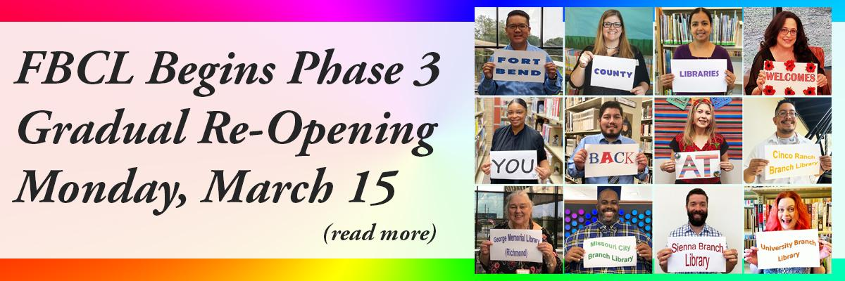 FBCL Begins Phase 3 Gradual Re-Opening Monday, March 15